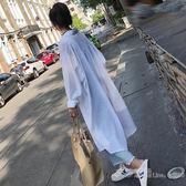 超長開衫女夏季韓版bf潮中長款過膝防曬衣百搭學生寬鬆襯衫薄外套 艾莎嚴選