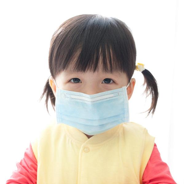 Qmishop 日韓素面純色兒童平面防塵/保護喉嚨口罩50入【J872】