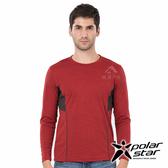 PolarStar 男 麻花吸排圓領長袖衣『暗紅』P19255 上衣 男版 休閒 戶外 登山 POLO衫 長袖 透氣