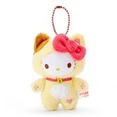 〔小禮堂〕Hello Kitty 貓裝絨毛玩偶娃娃吊飾《粉黃》掛飾.鑰匙圈.2020新春特輯 4930972-49135