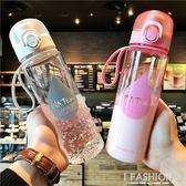 創意運動大容量隨行隨手杯子塑料水杯情侶學生男女透明彈跳蓋水瓶 Ifashion