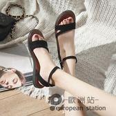 涼鞋/羅馬女夏平底新款學生韓版百搭一字扣簡約原宿風女鞋「歐洲站」