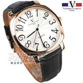 valentino coupeau范倫鐵諾 方圓數字時尚錶 玫瑰金電鍍 防水手錶 真皮 玫瑰金x黑 男錶 V61601W玫黑大