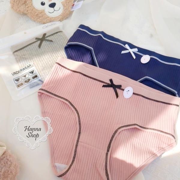 《花花創意会社》外流。新款蝴蝶結獨立包裝中腰三角褲棉質提臀-L號 有三色【H7138】