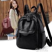 曼柔雙肩包女士新款韓版百搭軟皮包包簡約時尚背包大容量休閒書包 電購3C