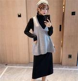 時尚休閒針織兩件套L-4XL胖MM大碼女裝秋冬衛衣裙配V領針織馬夾兩件套裝R036B-9912