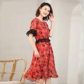 中大尺碼洋裝 韓版雪紡印花短袖圓領連衣裙  XL-5XL #lg19502 ❤卡樂❤