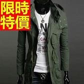 風衣外套-時尚簡約大方長版男大衣59r38[巴黎精品]
