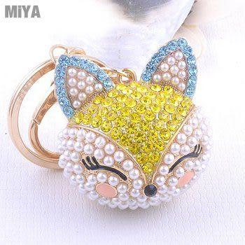 韓國狐狸貓可愛造型鑲貼珍珠水鑽鑰匙圈包包吊掛飾(捷克鑽) 玫紅金黃色 現貨