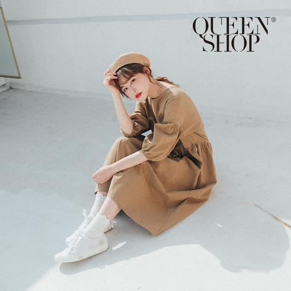 Queen Shop【01084837】後排釦造型澎袖洋裝 兩色售*現+預*