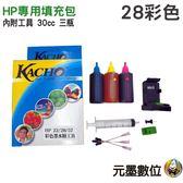 【墨水填充包/彩】HP 28 專用 30cc 內附工具 適用雙匣