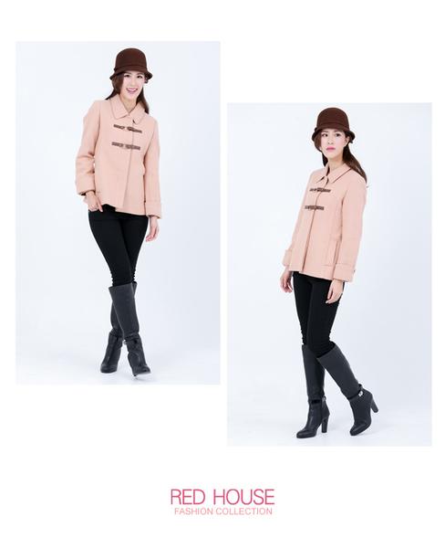 RED HOUSE-蕾赫斯-皮釦環金蔥大衣(共2色)
