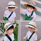 兒童帽子  男童女童沙灘帽草帽遮陽帽寶寶太陽帽禮帽兒童涼帽 珍妮寶貝