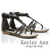 ★2017春夏★Keeley Ann騎士風格~古羅馬風情編織鉚釘全真皮平底夾腳涼鞋(黑色)-Ann系列