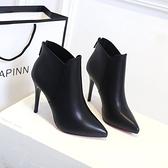 網紅女鞋靴子2020秋季新款尖頭短靴百搭單靴性感細跟高跟馬丁靴冬 安雅家居館