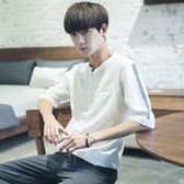 夏季男士短袖T恤韓版夏天白色寬鬆七分袖體恤夏裝五分袖衣服潮 魔方數碼館