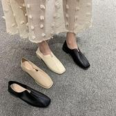 皮鞋 網紅新款百搭休閒女鞋韓版方頭粗跟奶奶單鞋一腳蹬懶人小皮鞋 【618 購物】