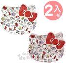 〔小禮堂〕Hello Kitty 大臉造型美耐皿盤組《2入.粉白.滿版》點心盤.置物盤.塑膠盤 5901610-51916