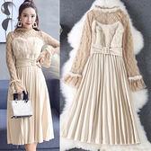 兩件式洋裝韓版蕾絲上衣長袖打底衫毛毛拼接絲絨吊帶百褶裙LS8012607