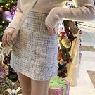 法式複古氣質格子半身裙女秋冬高腰A字短裙包臀裙仙女裙子