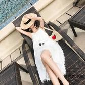 沙灘裙女海邊度假裙連身裙顯瘦吊帶長裙【時尚大衣櫥】