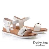 Keeley Ann夏季定番 一字金屬釦全真皮舒適涼鞋(米白色)