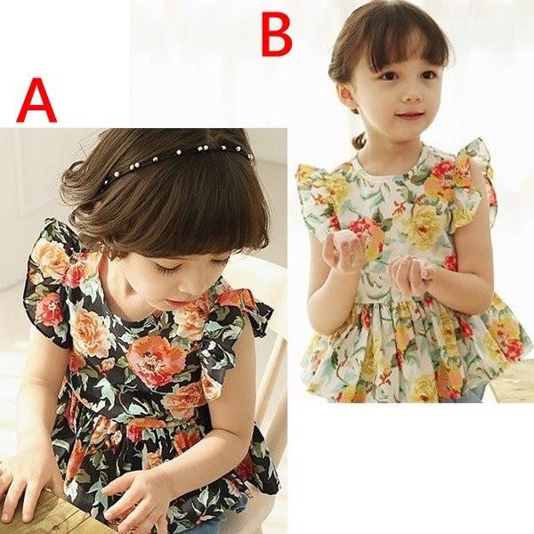 韓版《花朵飛袖款》復古短袖上衣