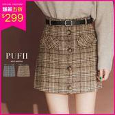 現貨 PUFII-褲裙 學院氣質假排釦後拉鍊格紋短褲裙(附腰帶) 2色-1228 冬【CP15837】