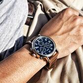 TIMEX 天美時 / TXTW2R42600 / 美國指標型男復古三眼計時日期真皮手錶 藍x咖啡 40mm