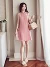 夏季新款拼接百褶雪紡慵懶風裙子復古性感露背蕾絲無袖洋裝