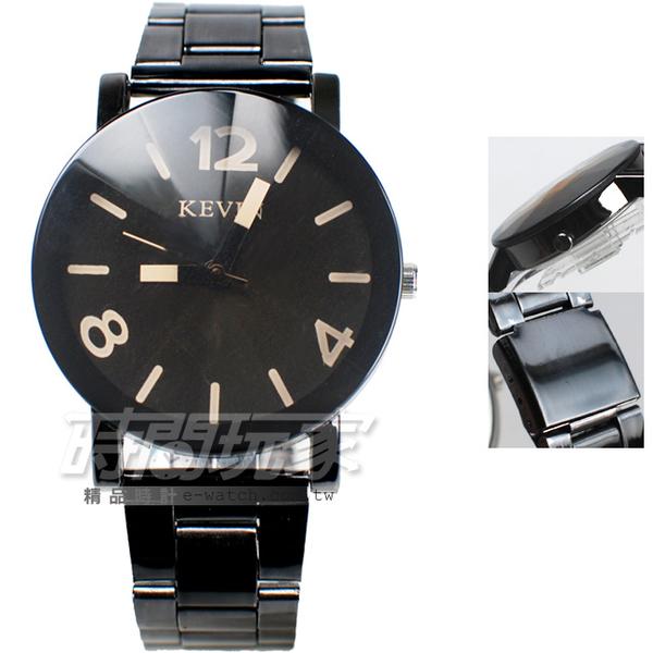 KEVIN 標準時刻 中性錶/女錶/男錶 學院風休閒風格 立體多角切割鏡面 IP黑電鍍 KV20數字黑大