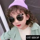 OT SHOP [現貨] 兒童太陽眼鏡 墨鏡 黑色質感金屬圓框 抗UV400 可愛創意造型眼鏡 黑色 K27