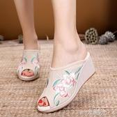 2020年春夏款厚底楔形魚嘴涼拖鞋高跟女鞋老北京布鞋民族風單鞋繡花鞋  一米陽光