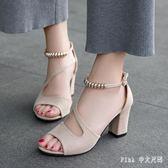 大尺碼羅馬女鞋 2019夏季新款高跟時尚涼鞋女百搭一字扣魚嘴粗跟 qz283【Pink中大尺碼】