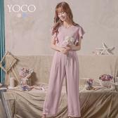 東京著衣【YOCO】輕甜溫柔V領荷葉睫毛蕾絲連身褲-S.M.L(180474)