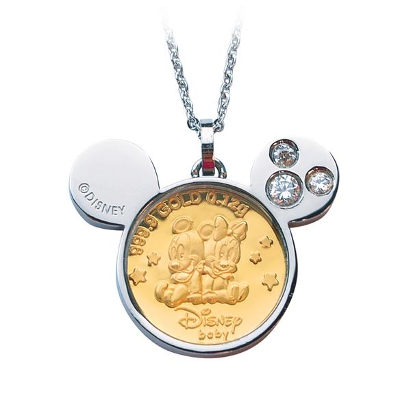 迪士尼系列金飾-黃金金幣項鍊-兩小無猜-C
