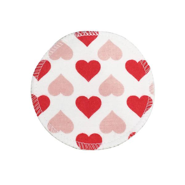BabyPark 美國Mothers Lounge Breast Pad 可洗式環保溢乳墊-紅粉愛心(一組四入)