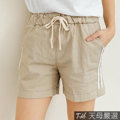 【天母嚴選】側邊雙線條抽繩綁帶多色休閒短褲(共六色)