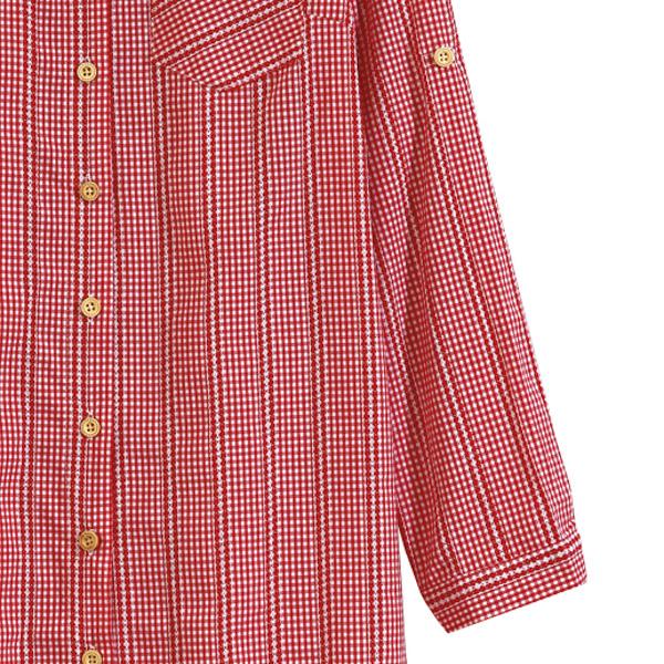 【MASTINA】格子刺繡襯衫-紅 0524