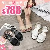 任選2雙788涼鞋韓版涼鞋金屬環珍珠裝飾平底涼鞋【02S8977】