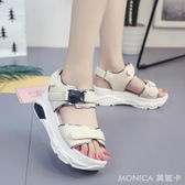 涼鞋女百搭韓版鬆糕女鞋厚底高跟鞋學生坡跟羅馬鞋子 麻吉好貨