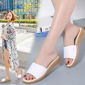 降價兩天 2020夏季新款韓版涼拖鞋女平底真皮女式涼鞋休閒室外一字沙灘鞋女