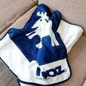《花花創意會社》外流。北歐麋鹿藏青色雙面小蓋毯【H5822】