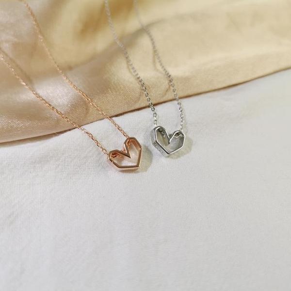 s925純銀鏤空心形項鏈女鎖骨鏈愛心吊墜時尚百搭