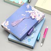 中國風流蘇日記本盒裝密碼鎖本子創意古風手賬本學生筆記本文具 薔薇時尚