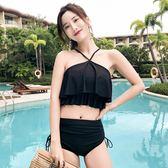 泳裝復古游泳衣女分體平角短袖高腰保守韓國溫泉新款學生泳裝 溫暖享家