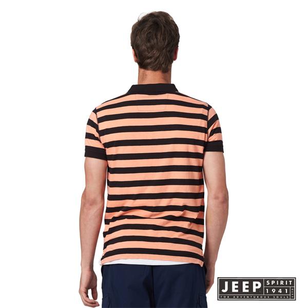 【JEEP】網路限定 品牌文字刺繡條紋短袖POLO衫 (橘黑)