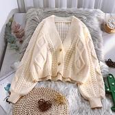 毛衣外套 短款針織開衫女春裝新款百搭寬松慵懶風燈籠袖上衣毛衣外套【快速出貨八折鉅惠】