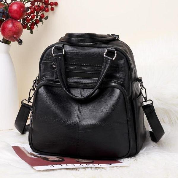 新款女包手提包女多功能後背包大容量兩用背包軟皮單肩側背包  卡布奇諾 10-2