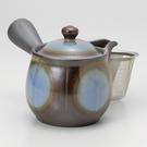 日本陶壺【萬古燒】未來型 青 橫手急須0.4L 泡茶壺
